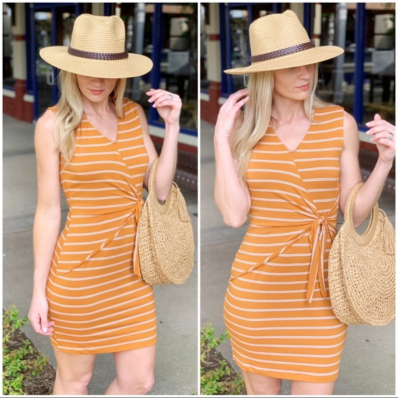 Infinity Raine Dresses & Skirts - Amber striped tie front dress